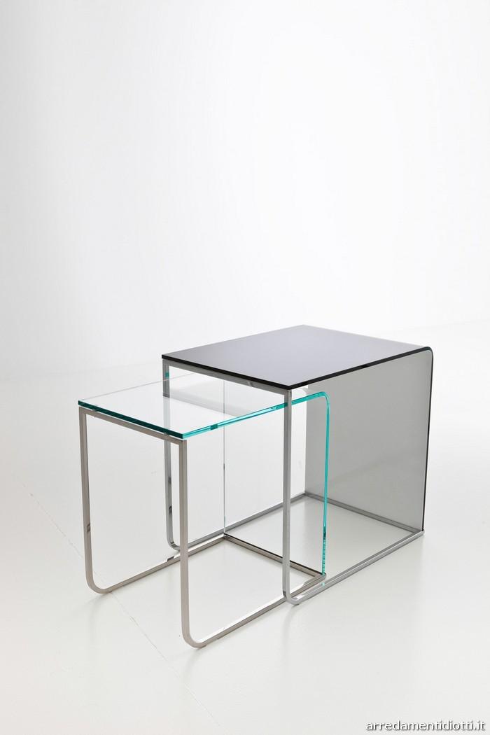 Tavolino svt65 in vetro e accaio cromato diotti a f arredamenti - Tavolino porta pc da divano ...