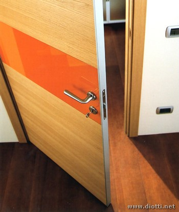 Clever hinged door light oak orange glass
