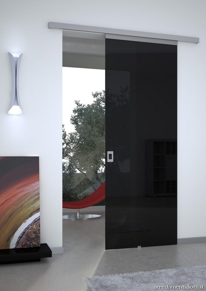 Porte in vetro glamour senza cornice diotti a f arredamenti - Porta scorrevole esterna vetro ...