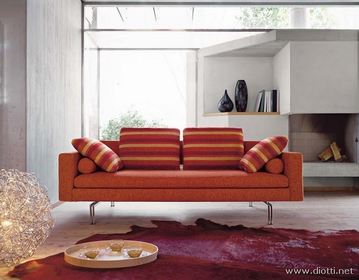 Soggiorno con divano arancione - Divano arancione ...