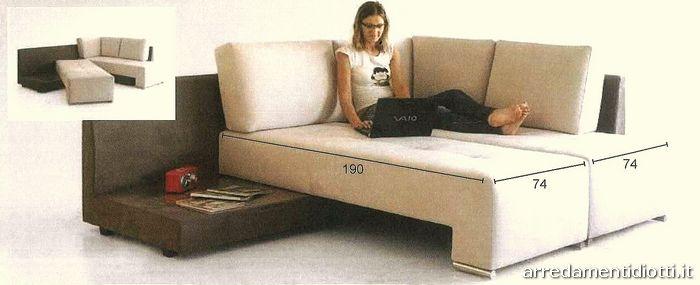 Divano letto trasformabile angolo modello pegaso diotti a f arredamenti - Divano letto angolare divani e divani ...