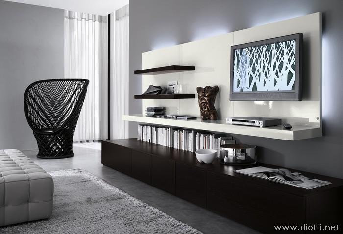Soggiorno day in rovere moro e laccato lucido bianco Decoracion de interiores estilo minimalista