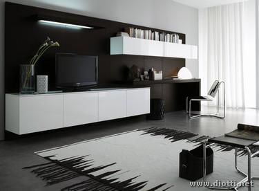 Soggiorno day in rovere moro e laccato lucido bianco for Mobili per salotto moderni