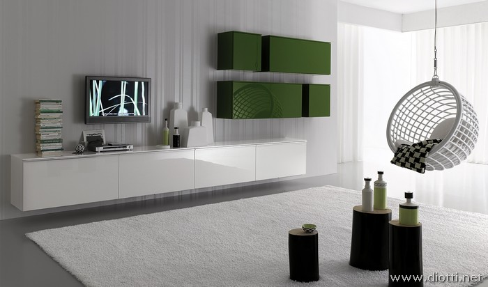 White and green day wall system diotti a f italian for Soggiorni bianchi