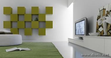 Day soggiorno composizione pensili verdi