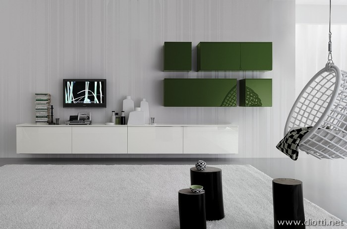 Soggiorni Moderni Lucidi : Soggiorno day bianco e verde diotti a f arredamenti