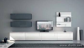 Pareti attrezzate bianche soggiorno Day - DIOTTI A&F Arredamenti