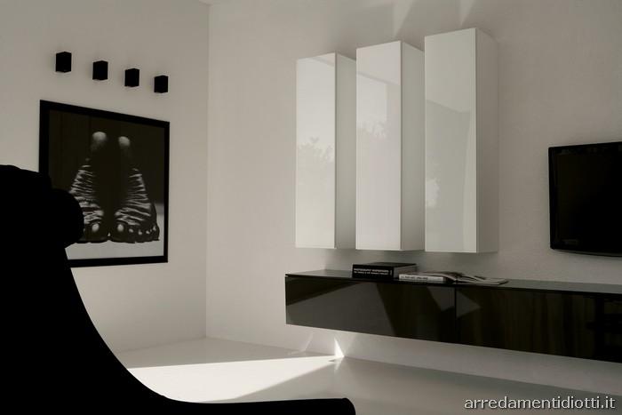 lampo - bianco e/o nero - diotti a&f italian furniture and ... - Arredamento Soggiorno Bianco E Nero