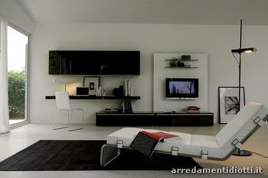 Le composizioni proposte nelle finiture laccato bianco e o for Soggiorni componibili moderni