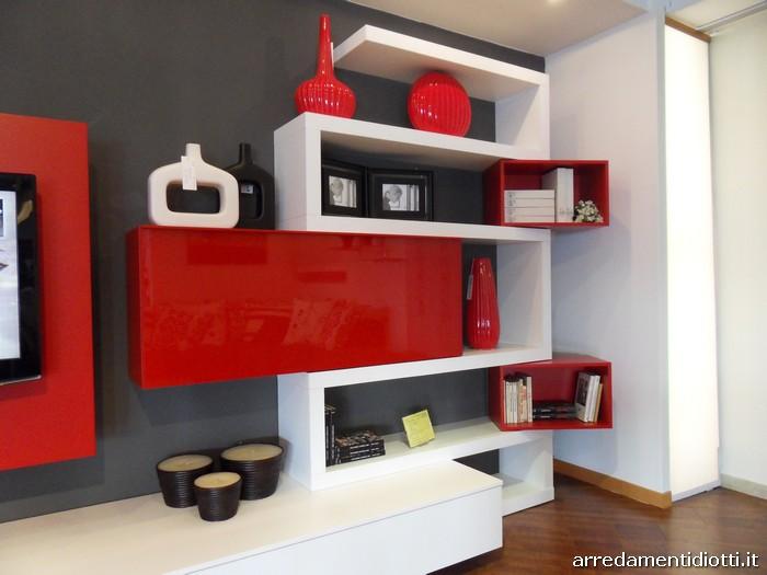 Mobile soggiorno moderno bianco emejing mobili soggiorno for Parete rossa soggiorno