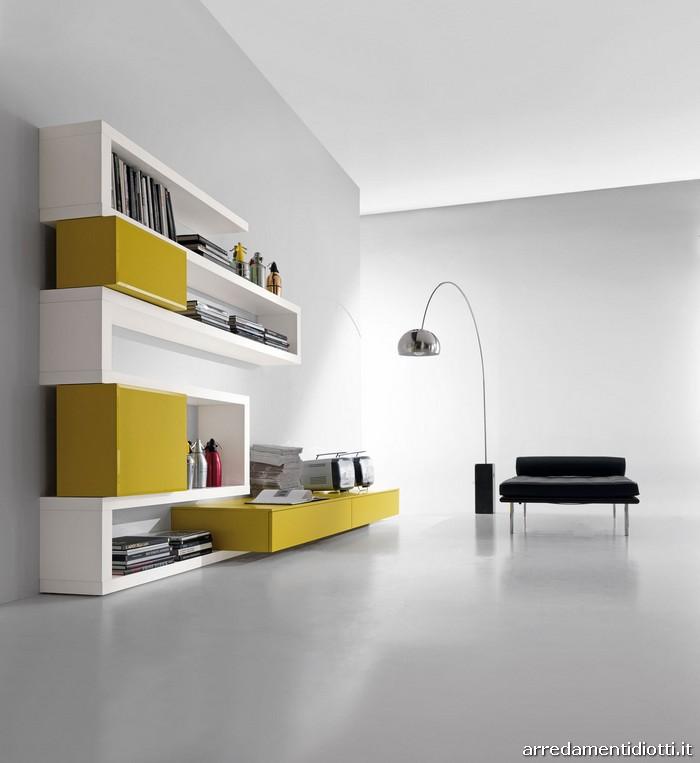 Libreria creative side soggiorno bianco senape   diotti a&f ...