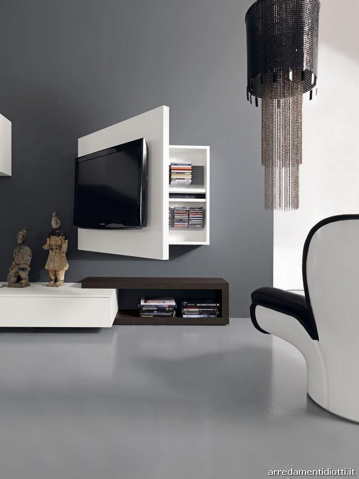Soggiorno creative side libreria bicolore diotti a f for Coprifili tv