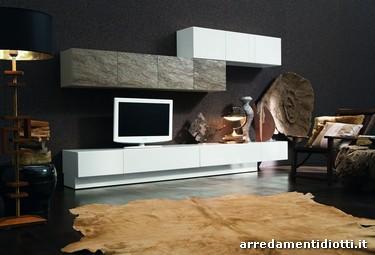 Soggiorno con anta in pietra stone diotti a f arredamenti for Soggiorni moderni in pietra