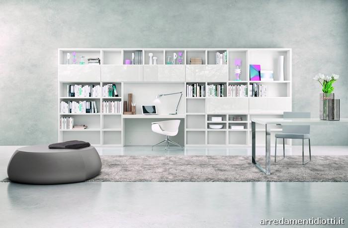 Libreria my space laccata bianca diotti a f arredamenti for Libreria a muro bianca