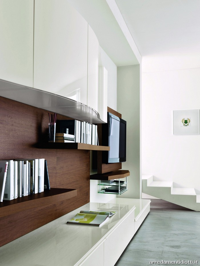 Soggiorno 302 in noce con porta tv orientabile diotti a - Mobili soggiorno angolari ...