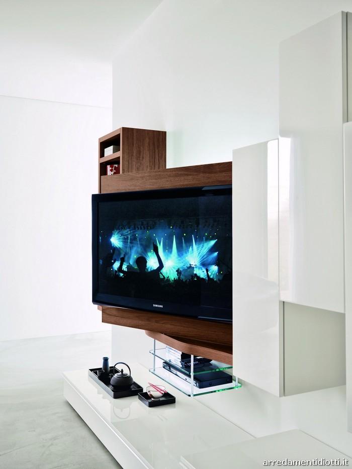 Soggiorno 302 in noce con porta Tv orientabile - DIOTTI A&F ...