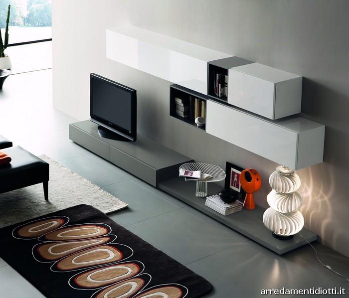 Soggiorno tween con contenitori componibili diotti a f for Mobili soggiorno moderni