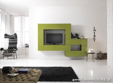 Soggiorno tetris moderno componibile verde diotti a f for Verde soggiorno