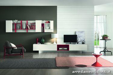 Soggiorno moderno Day e mensole personalizzabili Free Elements - DIOTTI A&amp...