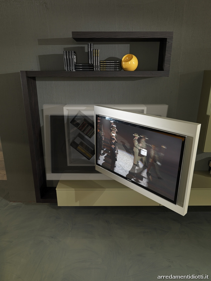 Soggiorno con porta tv rack orientabile creative side for Parete porta tv