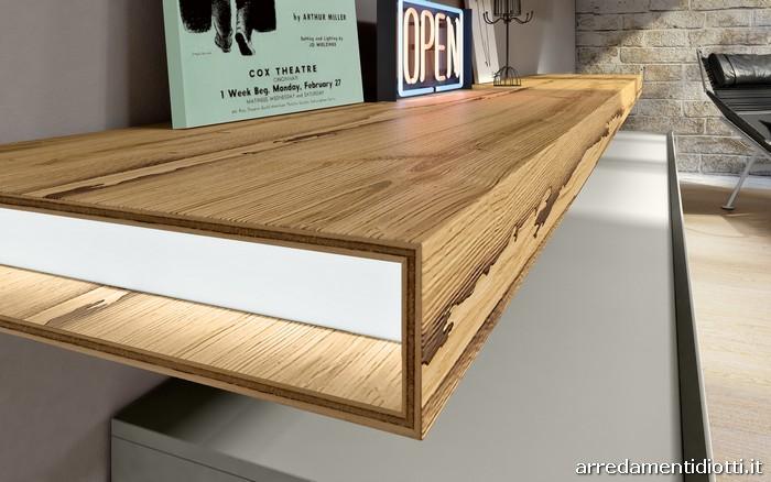 Soggiorno componibile 302 nella finitura briccola venezia for Mensole legno naturale