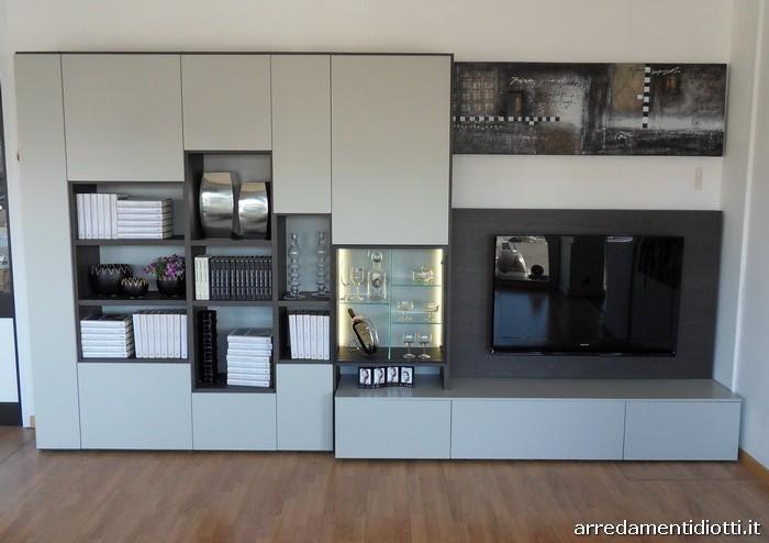 Soggiorno Modo con libreria e porta tv - DIOTTI A&F Arredamenti