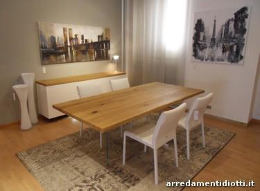 Madia Ikaro con top e tavolo in rovere massello - DIOTTI A&F Arredamenti
