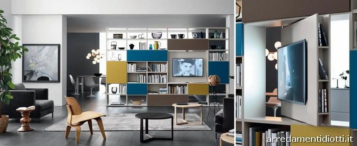 Libreria Bifacciale Con Porta Tv.Libreria Modo Bifacciale Componibile Diotti A F Arredamenti