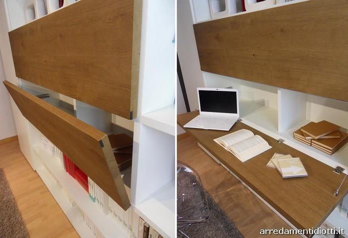 Libreria modo con piccolo guardaroba diotti a f arredamenti for Libreria con scrivania a scomparsa