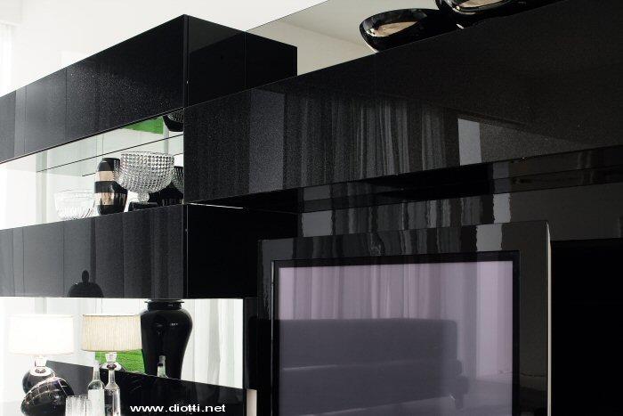 Soggiorno dark landscape in laccato nero diotti a f for Immagini mobili moderni