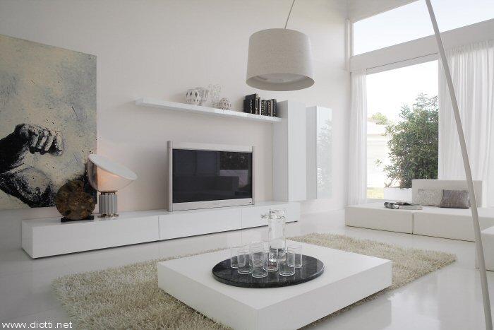 ... Essential Landscape mobile soggiorno pensili verticali laccato bianco