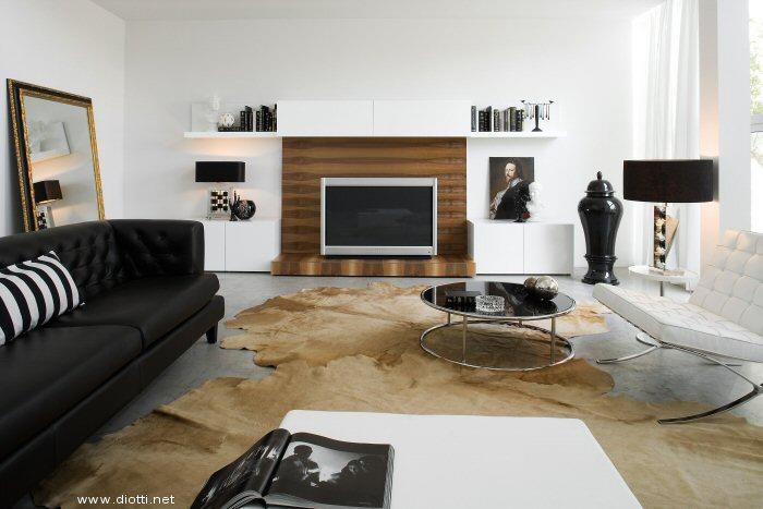 Salotto Moderno Con Parquet E Parete Tv In Legno Interior Design ...