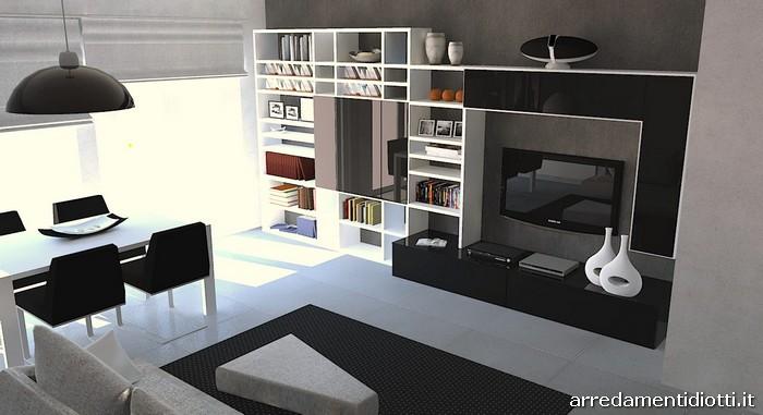 Soggiorno bianco e divano nero : soggiorno moderno nero populair ...