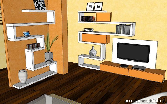 Parete arancione fabulous pareti colorate with parete for Af arredamenti