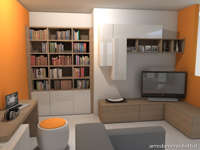 Soggiorno moderno bianco lucido e noce Lampo Logo - DIOTTI A&F ...