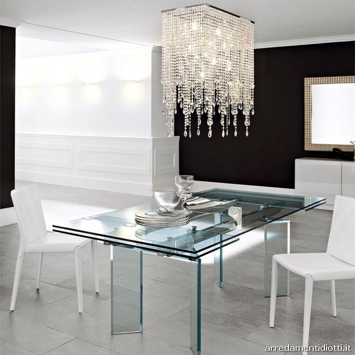 Tavolo rotondo in cristallo trasparente ray diotti a f - Tavolo trasparente allungabile ...
