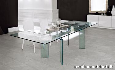 Tavolo rotondo in cristallo trasparente ray diotti a f arredamenti - Tavolo trasparente allungabile ...