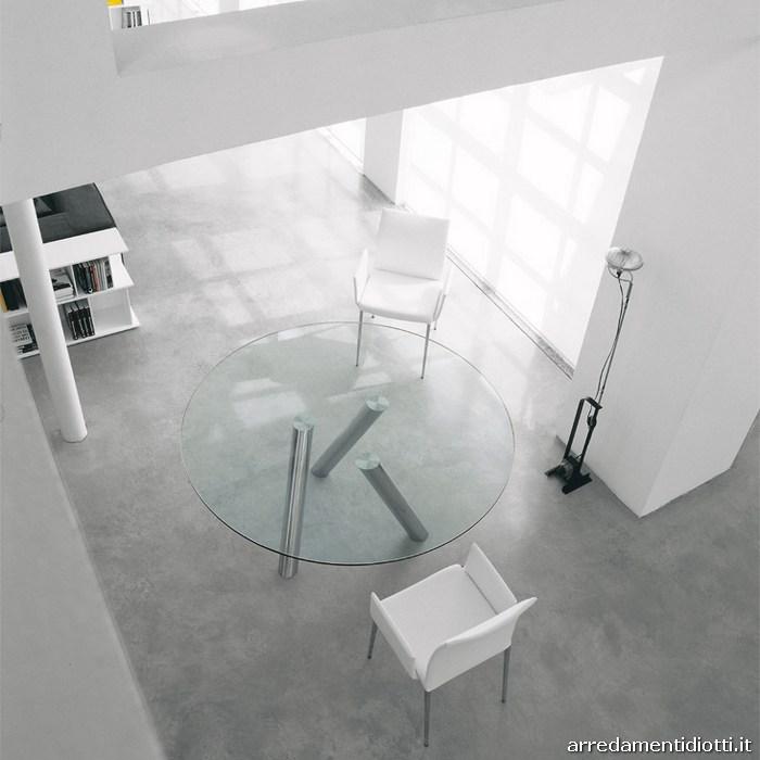 Tavolo rotondo in cristallo trasparente Ray - DIOTTI A&F Arredamenti
