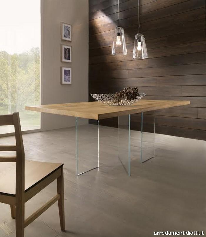 Tavoli in massello con basamento in vetro diotti a f for Tavoli in vetro e legno