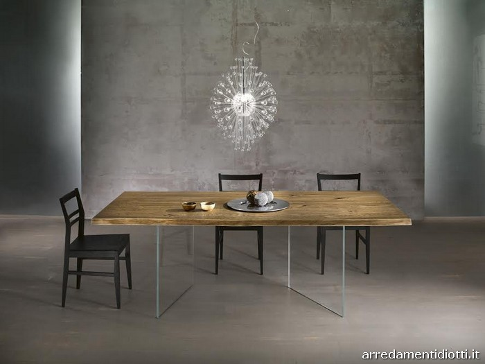 Tavoli in massello con basamento in vetro diotti a f arredamenti - Mollettone per stirare sul tavolo ...