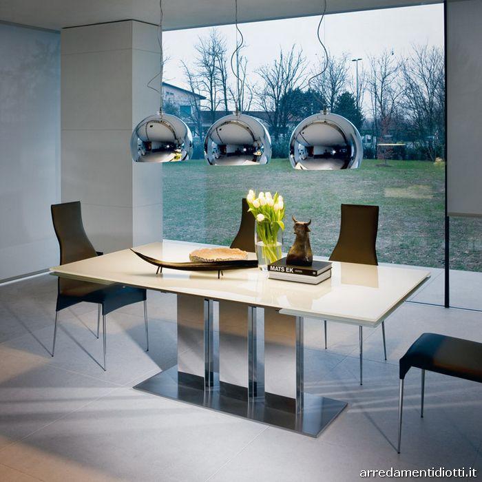 Tavolo allungabile in acciaio e cristallo plano diotti a for Tavoli in cristallo e acciaio
