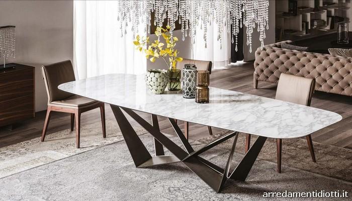 Tavolo base acciaio piano vetro legno o marmo skorpio - Tavolo piano marmo ...