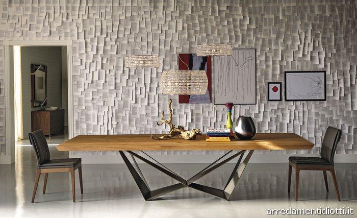 Tavolo base acciaio piano vetro, legno o marmo Skorpio ...